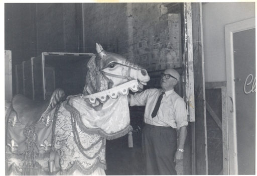 Eric Richards with a mechanical horse used in 'Camelot', 1963