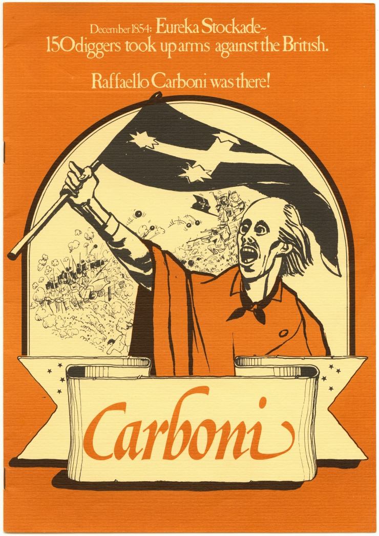 Poster for 'Carboni' by John Romeril. Australian Performing Group, 1980. Arts Centre Melbourne, Performing Arts Collection.