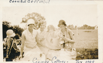 "Image of 2010.011.029 Linda Parker (and others) at a picnic at Melba's property ""Coombe Cottage"" November 1929"