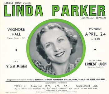 Flyer promoting a recital by Linda Parker at Wigmore Hall (circa 1923-1946). From 2010.011.006