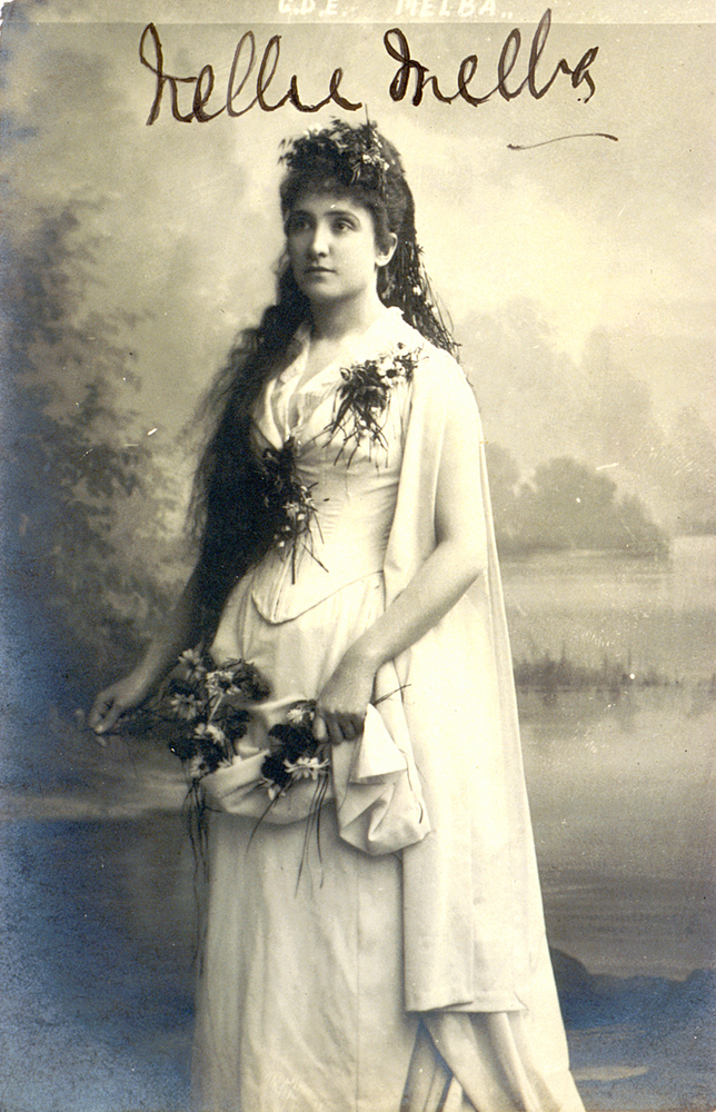 Signed photograph of Nellie Melba as Ophelia in Hamlet, c.1889 Purchased, 1998 Performing Arts Collection