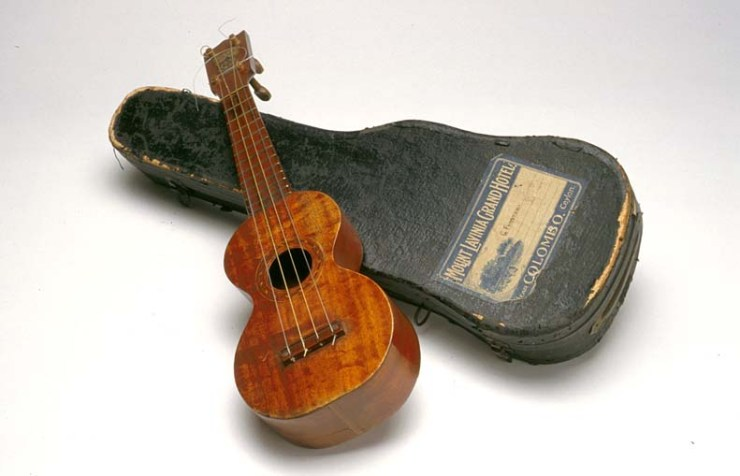Ukulele used by Grace Funston Gift of Bill May, 1993.  Performing Arts Collection, Arts Centre Melbourne.