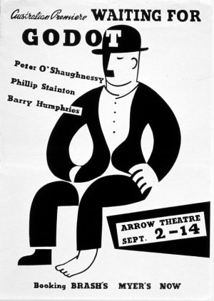 Poster for 'Waiting For Godot', Arrow Theatre, Melbourne, 1957 Gift of Barry Humphries, 2004 Performing Arts Collection, Arts Centre Melbourne