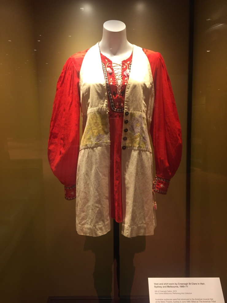 Vest and shirt worn by Creenagh St Clare in Hair,  Sydney and Melbourne, 1969–71  Gift of Creenagh Dalton, 2015 Arts Centre Melbourne, Performing Arts Collection