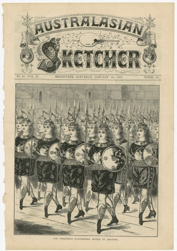 """""""Our Christmas Pantomimes: March of Amazons"""" from the Australasian Sketcher, 1875. [1982.036.025] Performing Arts Collection, Arts Centre Melbourne."""