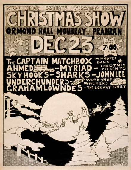"""Poster for the """"Christmas Show"""", Ormond Hall 1973. [2006.022.015] Performing Arts Collection, Arts Centre Melbourne."""