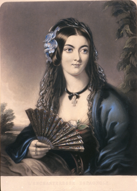 L'Enchtresse Espagnole (Lola Montez), 1847 Hand coloured print of original engraving by G. Zobel Gift of The Australian Ballet, 1998 Arts Centre Melbourne, Australian Performing Arts Collection