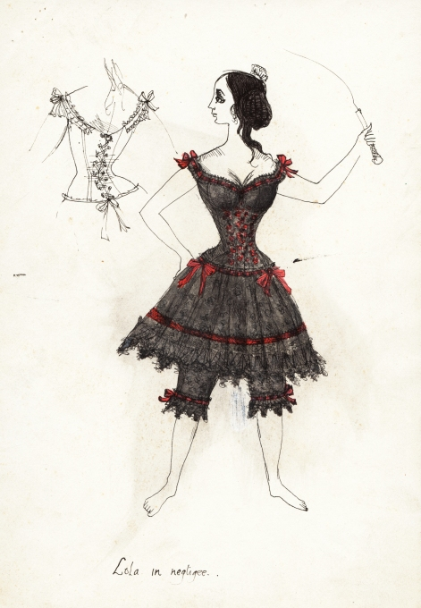 Costume design by Hermia Boyd for the title role in Lola Montez, 1958 Gift of Cassandra and Lucinda Boyd, 2017 Arts Centre Melbourne, Australian Performing Arts Collection. Reproduced courtesy of Lucinda and Cassandra Boyd.